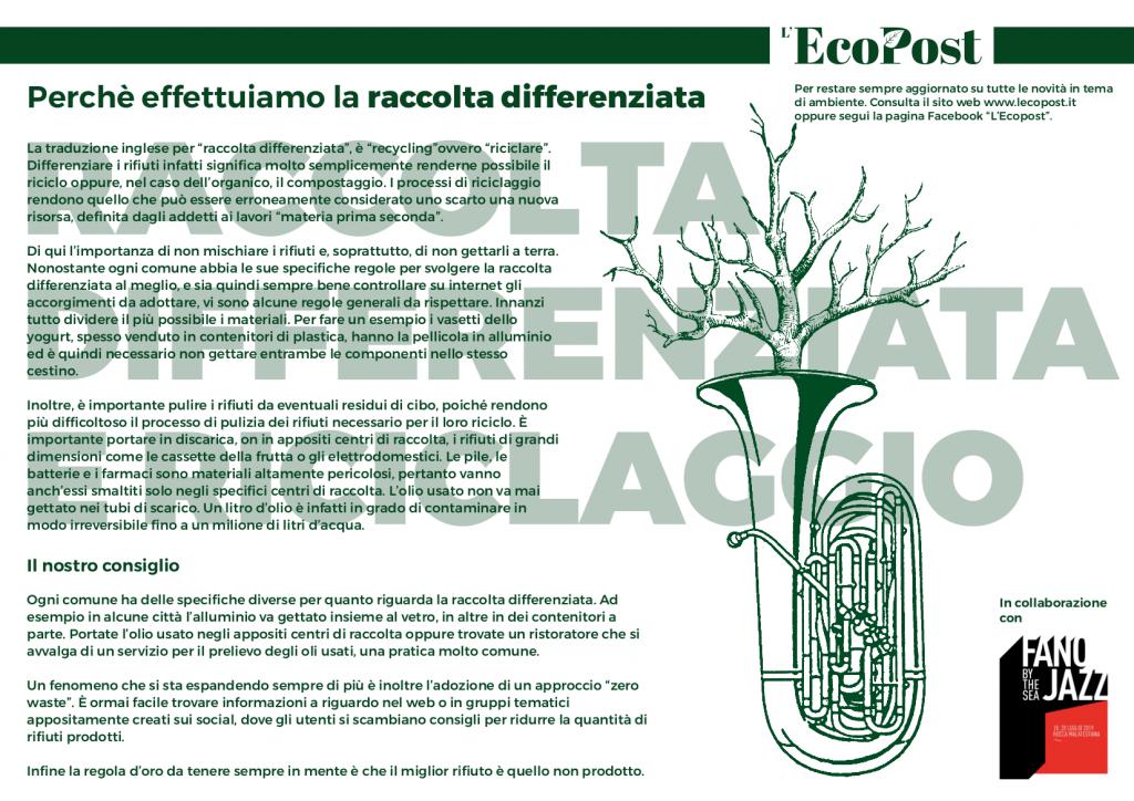 Abstrac L'EcoPost Raccolta Differenziata e Riciclaggio